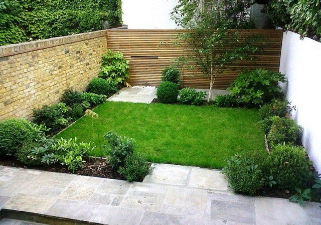Small Plants In The Square Garden With Thick Green Grass And Interesting Wall Design On Small Yard Landscaping Patio Garden Design Small Front Yard Landscaping