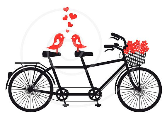 Tandem bicycle with love birds, wedding invitation, engagement, Valentine's day, vector, digital clipart, clip art, printable card, download...