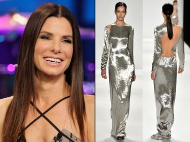 I hope she picks this gown, the fluid space age sliver kinda goes with the film she's nominated for. Go sandy!!