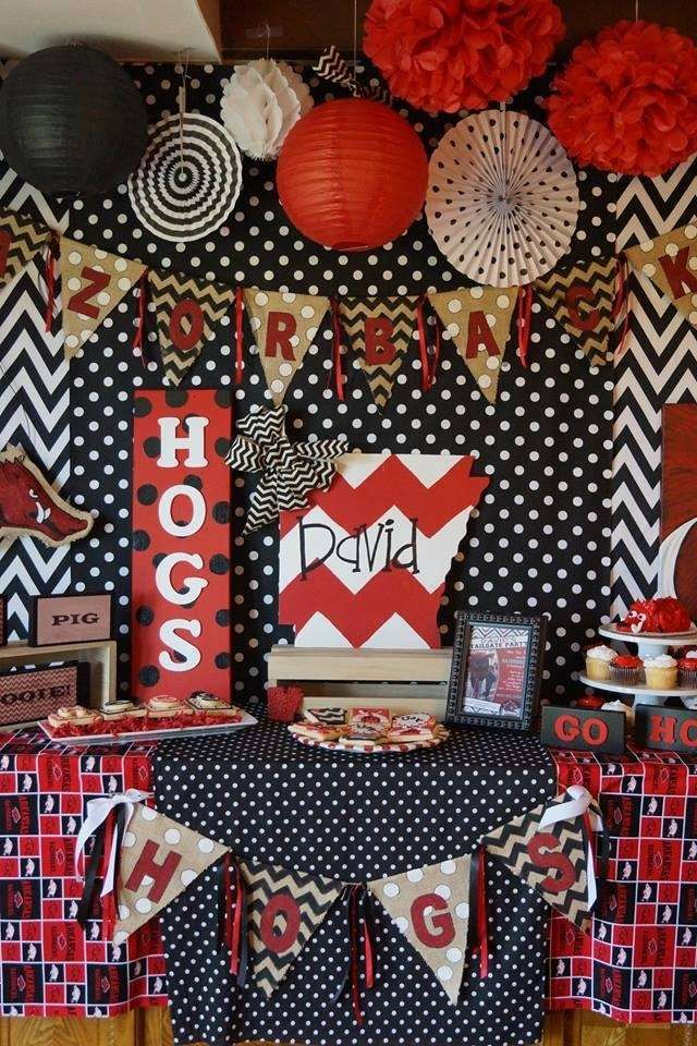 Razorback birthday party! See more party planning ideas at CatchMyParty.com!