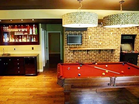 Chick and Simple Billiard Room with Country Decor Chandelier and Pendant Lighting
