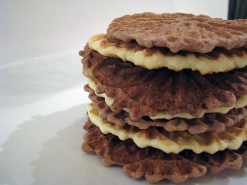 Chocolate Orange Pizzelle - Italian cookies ready for dipping