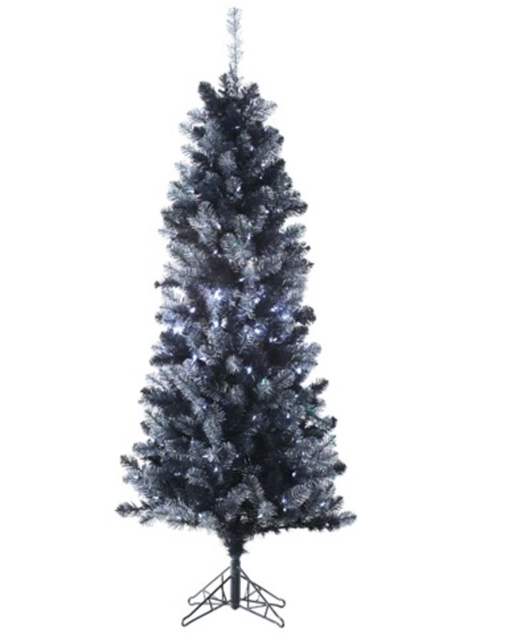 6' Pre-Lit Black Tinsel Slim Artificial Christmas Tree - Clear LED Lights