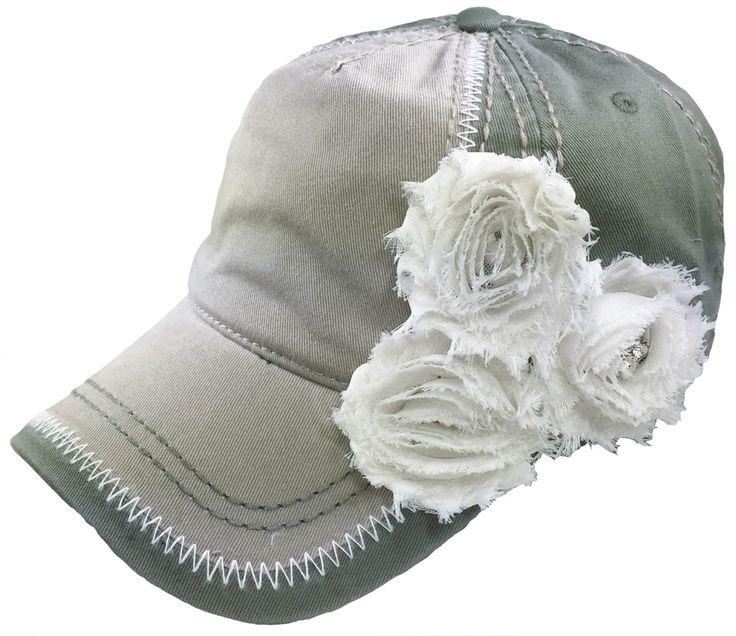 Women's Olive Tan Baseball Hat, Ladies Baseball Cap, Embellished Cap, Fashion Cap, Bling Baseball Cap, Bling Hat, Fashion Hat, Shabby Chic by MBellishedHats on Etsy