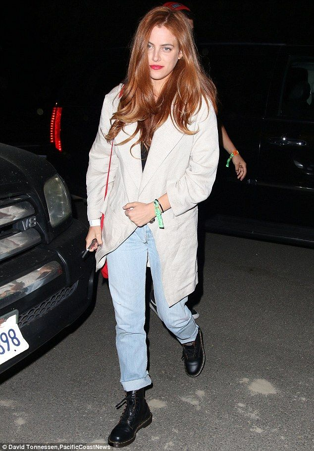 Rock'n'Roll royalty: Riley Keough - granddaughter of Elvis Presley - looked lovely with her beautifully styled cascading red locks framing h...