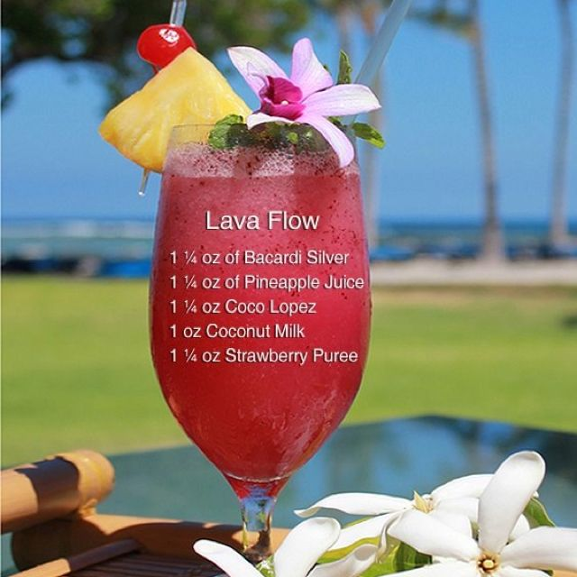 Lava Flow Cocktail... If you're not in maui at least drink like you are!
