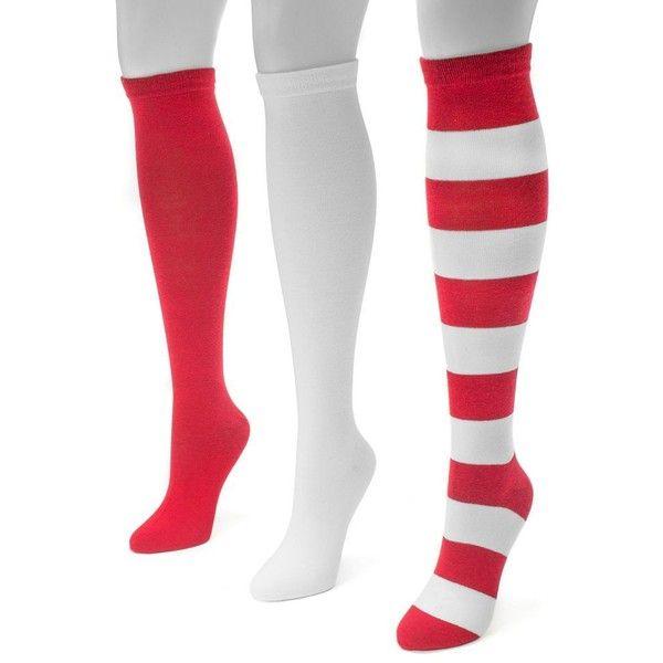 Adult MUK LUKS Game Day 3-pk. Knee-High Socks (£20) ❤ liked on Polyvore featuring intimates, hosiery, socks, red, knee socks, red knee high socks, red knee socks, muk luks socks and knee-high socks
