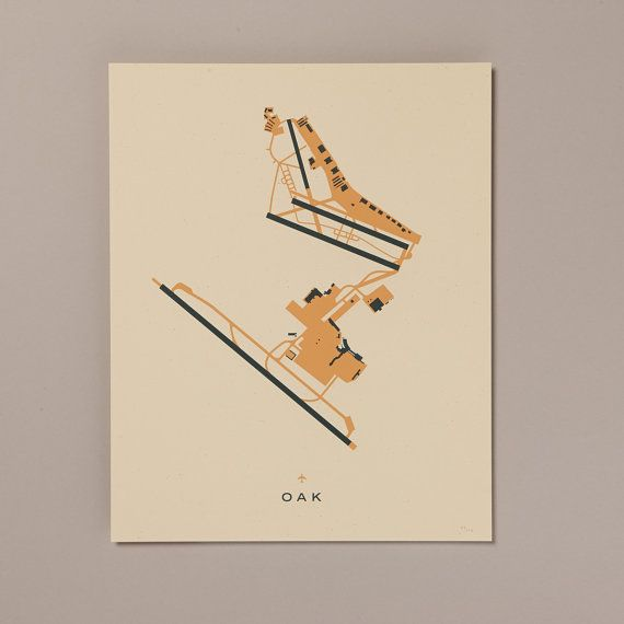 OAK (Oakland International Airport) Screenprinted Poster