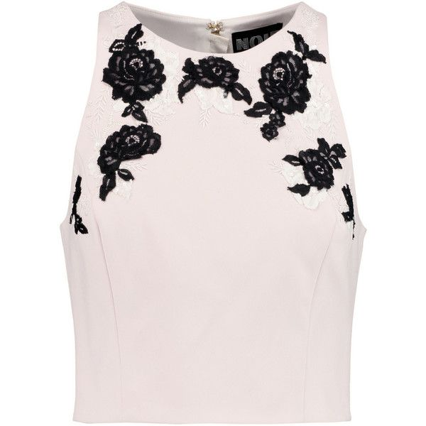 Noir Sachin & Babi Garland appliquéd faille top ($150) ❤ liked on Polyvore featuring tops, pastel pink, crop top, embroidered top, zip top, sequin crop top and zipper crop top
