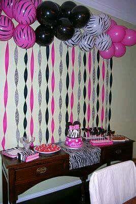 Pink, black & white balloons