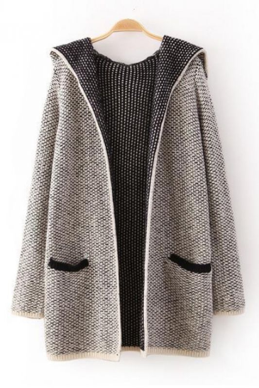 Grey Long Sleeves Hoodie Cardigan Sweater