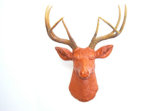Burnt Orange Deer Head Wall Mount  Deer Head by NearAndDeer, $89.99