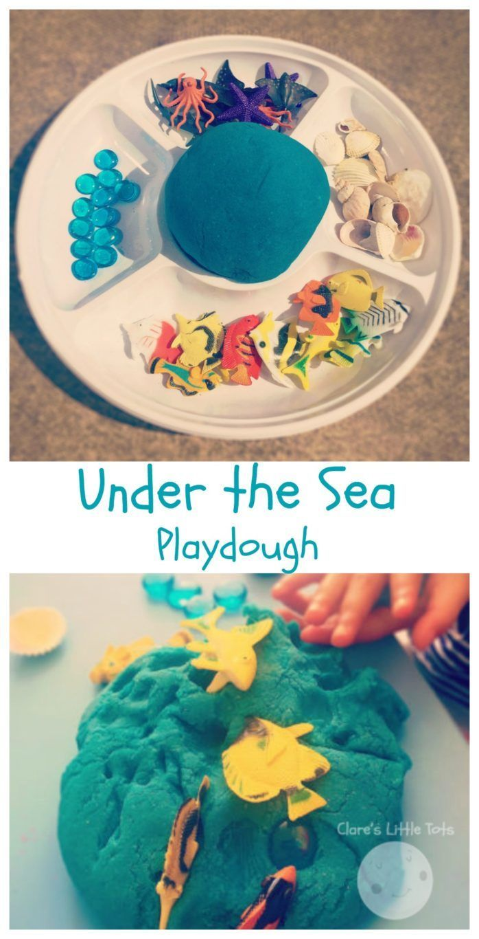 Under the sea playdough invitation to play for toddlers and preschoolers. Fun ocean themed sensory play idea. Great for the book Commotion in the Ocean.