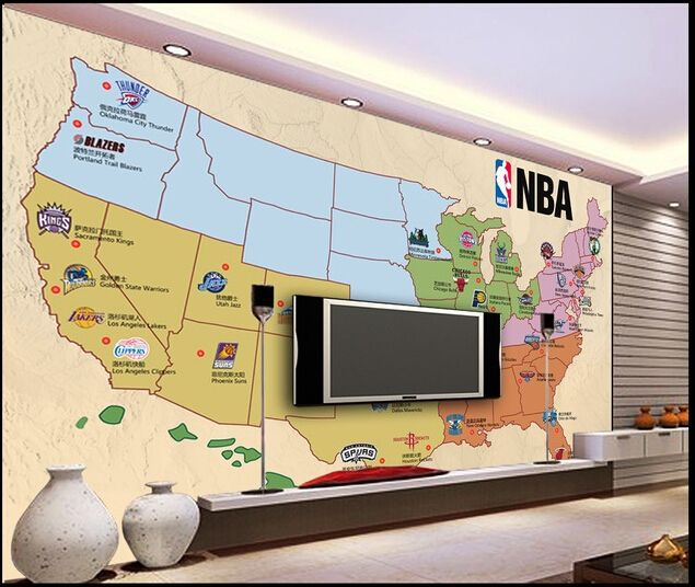 29.90$  Watch now - http://ali676.shopchina.info/1/go.php?t=32363873016 - Customized de parede 3D Papel,the basketball team on the occasion of the map for the living room bedroom TV wall wallpaper vinyl  #magazine