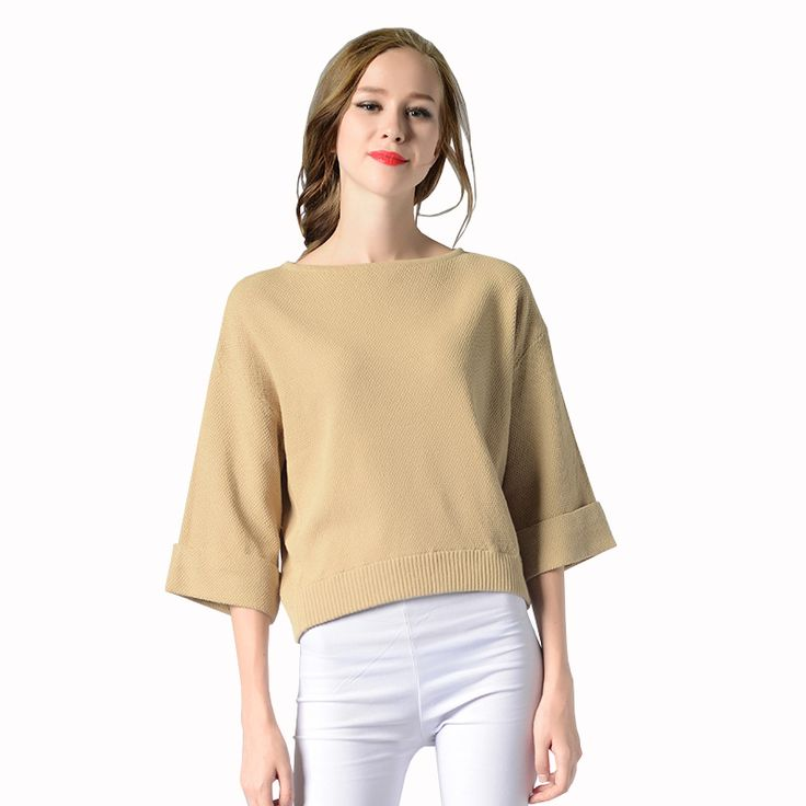 Autumn New Wide Sleeve Sweater For Women Slash Neck Collar Pullover Knitting Tops Plus Size Jumper Loose Sweater