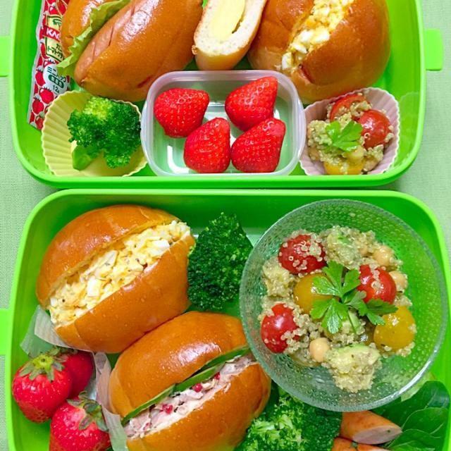 ロールパンサンド キヌアのサラダ ブロッコリー いちご 私はおまけにソーセージ      息子はおまけにクリームパン - 67件のもぐもぐ - 今日のお弁当 by Aki
