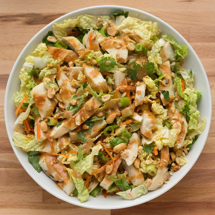Grilled Chicken Thai Salad with a Spicy Peanut Dressing - The Table