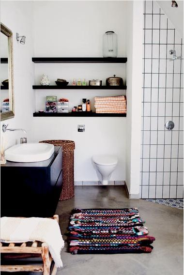 Bathroom shelves - might possibly work in either bathrooms. Certainly looks great and add some details / finishing touches to a somewhat sterile looking room.