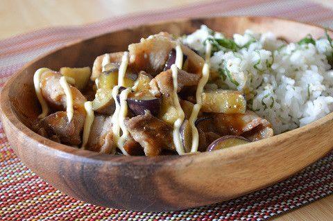 簡単!スタミナ丼♪「豚肉となすの甘辛マヨ丼」|スイーツ男子の簡単料理レシピ