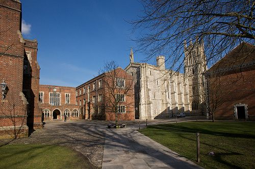 Winchester College flint court and chapel.