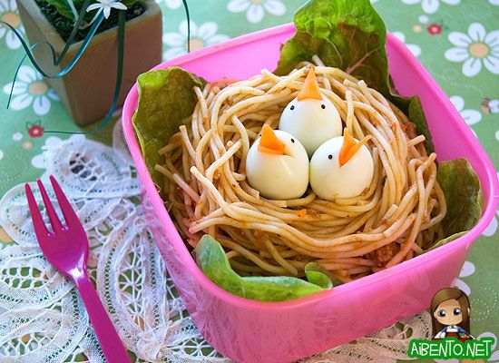 Birds Nest.. Lettuce, leftover spaghetti or lo mien.. 3 quail eggs or small balls of mozzarella   With carrot beaks and nori eyes. If using eggs they can be dyed yellow or blue or whatever color.