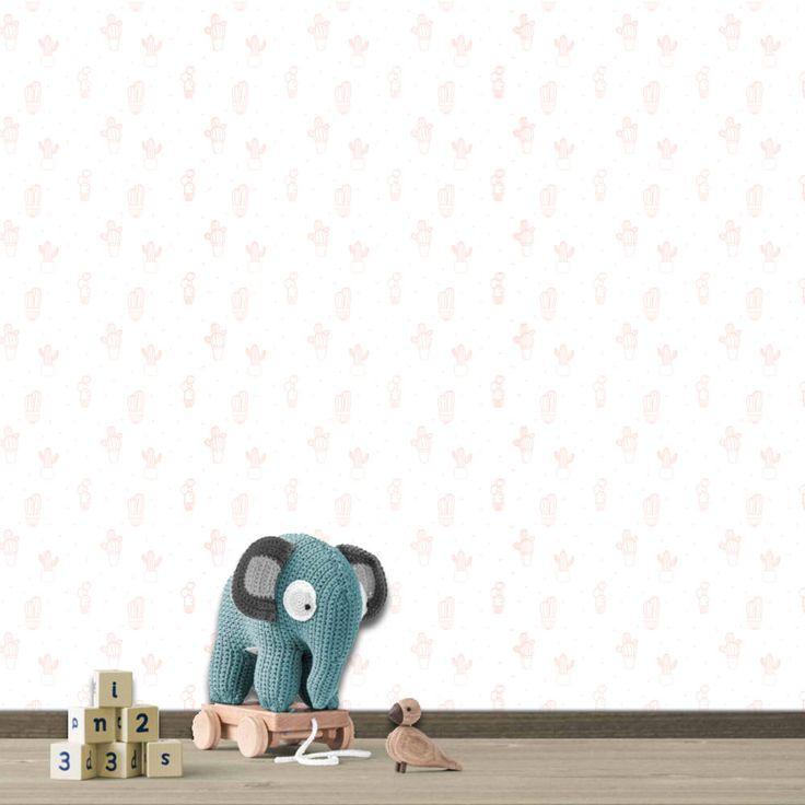 Hip Cactus behang - geschikt voor elke kamer   Snel geleverd! Leuk voor de kinderkamer! Neem eens een kijkje in de shop voor nog meer leuke producten.