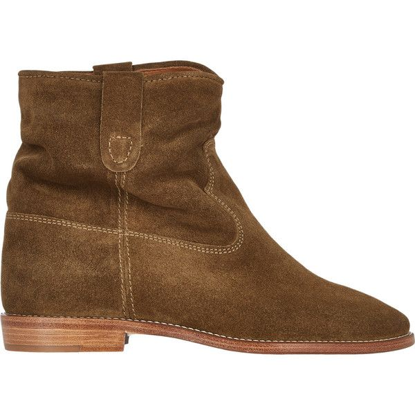 Isabel Marant Étoile Crisi Ankle Boots found on Polyvore featuring polyvore, fashion, shoes, boots, ankle booties, nude, nude ankle boots, round cap, leather sole boots and hidden wedge ankle boots