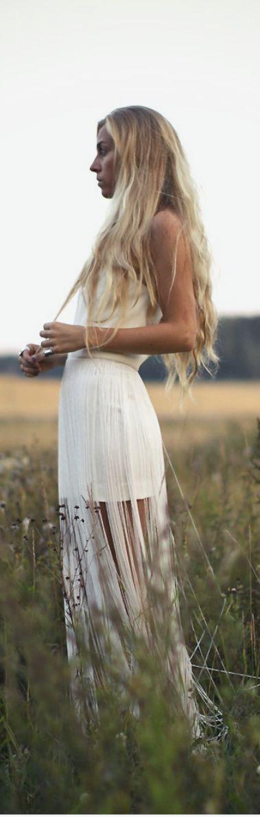 White Tassel Fringe Boho Maxi Skirt. Bohemian Style. Hippie Style. Boho Style. Boho Outfit. Festival Style