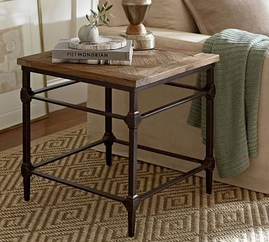 """Parquet Reclaimed Wood Side Table 23.5"""" square, 23.5"""" high pb"""