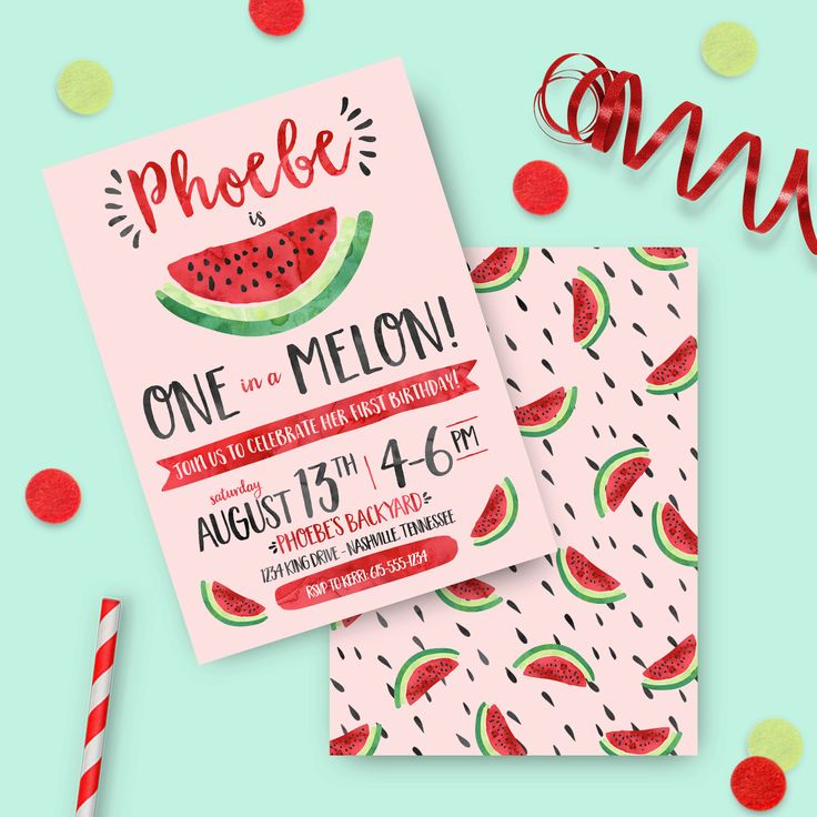 Watermelon Birthday Invitation - PRINTED INVITES - One in a Melon First Birthday Party Invite Summer fruit watercolor watermelon party seeds by kerrimakes on Etsy https://www.etsy.com/listing/456564000/watermelon-birthday-invitation-printed