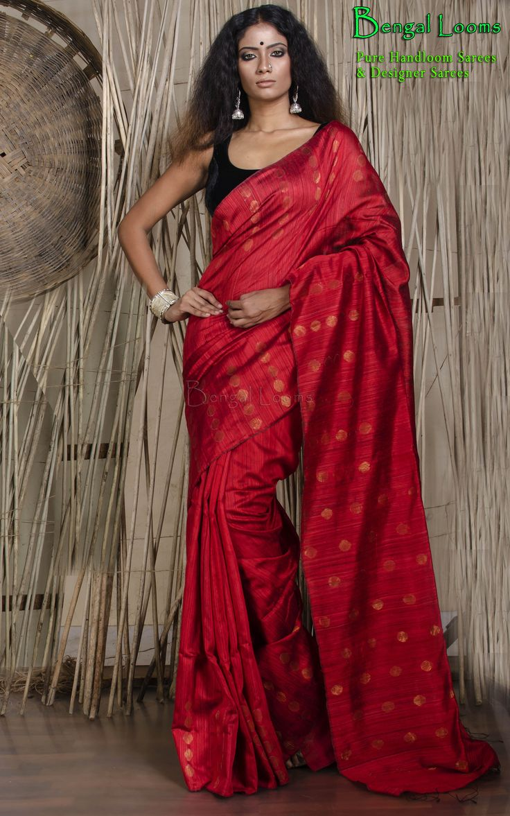 Pure Red Khadi Motka Silk Saree with woven antique zari ball available for sale from Bengal Looms.