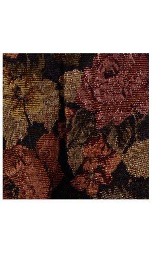 Faux Leather Trim Pleat Vintage Floral Tapestry A-line Short Skirt