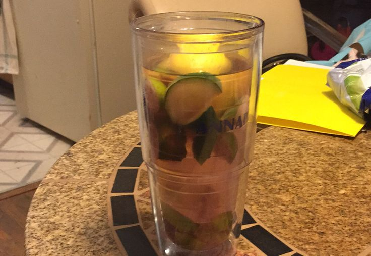My citrus mint cucumber detox fat flush water with a hint of mint and berry