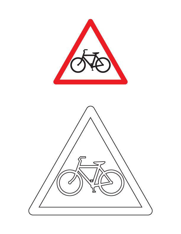 Cycle crossing traffic sign coloring page