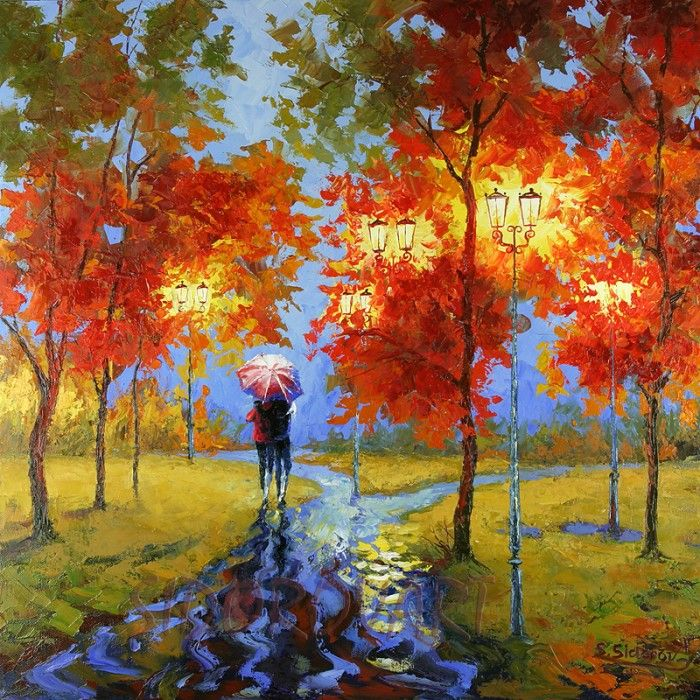 Stanislav Sidorov's painting depicts two lovers taking a casual stroll through a park on a brilliant fall evening. The rain gently falls all around them as they walk arm in arm, perched under a large umbrella. Sidorov's use of texture and bright, warm colors creates the dramatically intense backdrop of the beginnings of autumn.