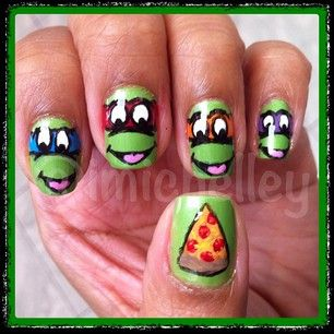 TMNT nails (her youtube username- NailsByiMichelley)