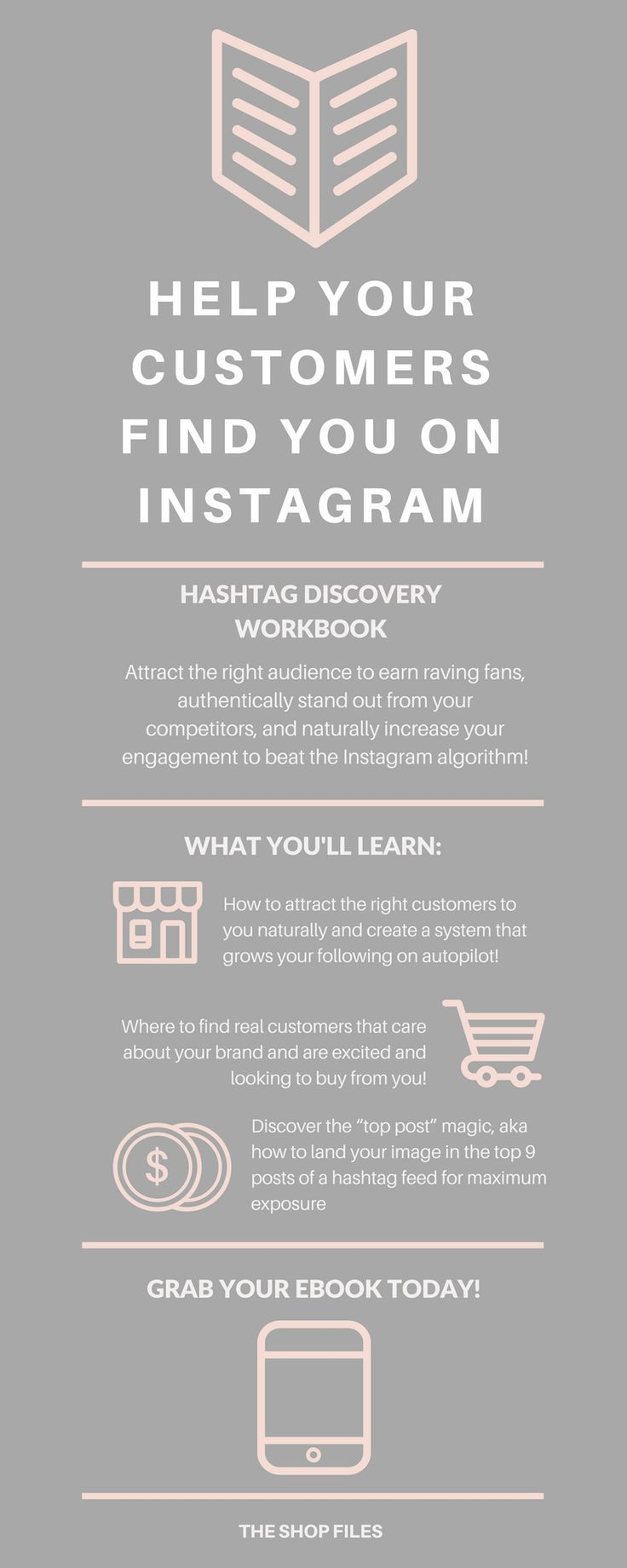 Quick and simple tips to grow your Instagram followers (and sales!) on autopilot by attracting the *right* people through hashtags! Grab your copy of the Hashtag Discovery Workbook - How to Grow Instagram Followers | Instagram Hashtag Ideas