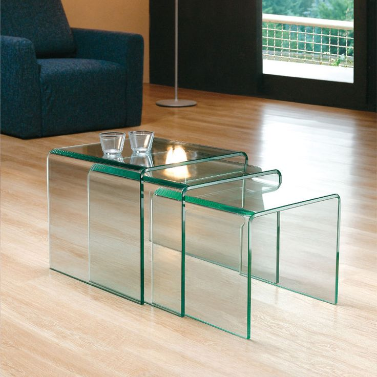 GLASS NEST OF 3 SIDE TABLES COFFEE SET CURVED END LIVING BENT TABLE EDGE THREE + in Home, Furniture & DIY, Furniture, Tables | eBay