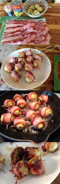 Bacon Wrapped Artichoke Hearts  These are seriously incredible.