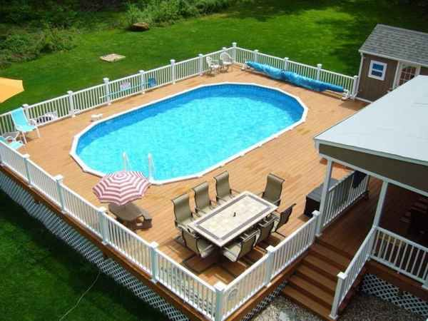pool deck off house | above ground pool deck off house