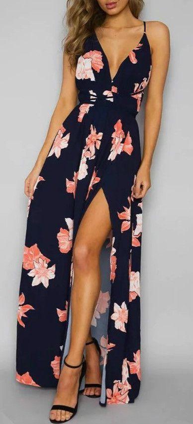 Backless Floral Spaghetti Strap Maxi Prom Dress