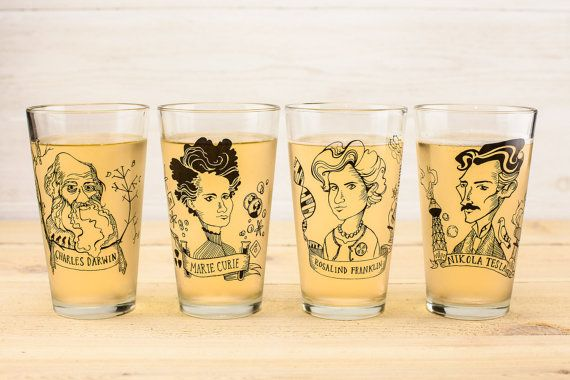 GIFTED: pint glasses featuring heroes of science (like Marie Cure, Nikola Tesla, Rosalind Franklin, and Charles Darwin) by CognitiveSurplus from Etsy. As seen on: http://www.aladyinalabcoat.com/#!GIFTED/cmbz/5676f5870cf2c2b7798c4738