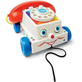 Introduced in 1961, the chatter telephone was the ultimate pretend play toy with its ringing rotary dial and its friendly interactive design. Since then, technology has changed but the chatter phone still makes kids smile. Interactive design Ringing rotary dial Eyes roll up and down while mouth chatters, dial rings For ages 1 year and up