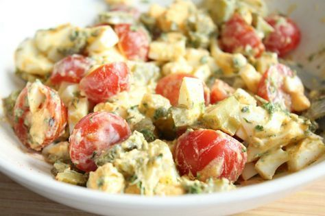 Tomaat Ei Salade met augurken simpel en snel lunch recept eetclean.nl