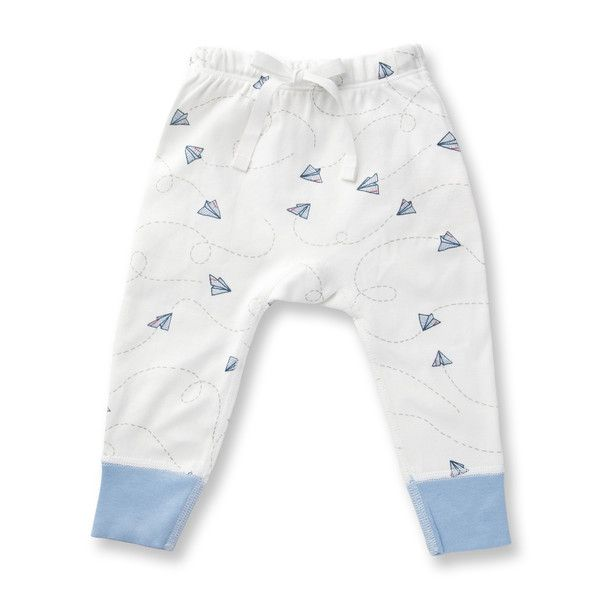 These Pants are exclusively designed by Sapling, an Australian company specialising in the most comfortable, highest quality 100% organic cotton children's wear.     Flight Collection - Paper Planes Made from the finest organic cotton - 100% GOTS certified. Printed with organic, 100% GOTS approved water-based dyes. Longer cuffs for folding allows for growth and longevity. Closed, flat-seam stitching protects baby from irritating inner seams and provides greater strength for quality.