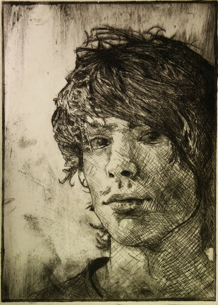 """""""dry point self portrait"""" by Broken-Lithium of deviatART. Need to learn how to do cross hatching well."""