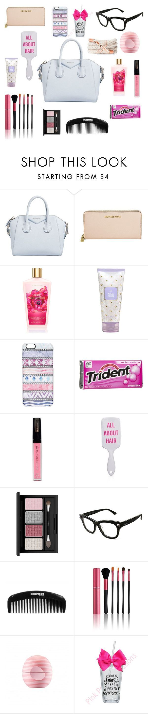 """What's in my purse"" by megraciegurl ❤ liked on Polyvore featuring beauty, Givenchy, Michael Kors, Casetify, Isadora, Valentino, Japonesque and Eos - branded purse sale, ladies handbags leather, black zip purse *ad"