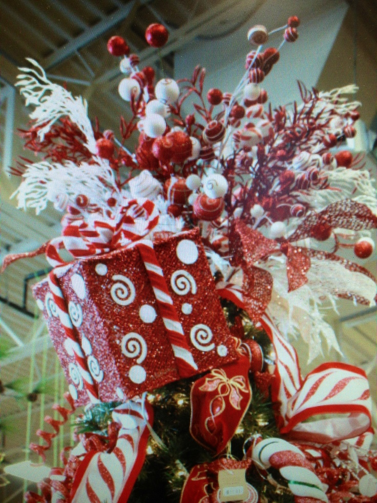 Candy cane box Christmas tree topper.