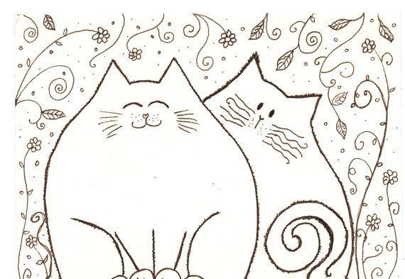 Desenho a tinta  dois gatos amigos no jardim  by Coloraudia, $14.00