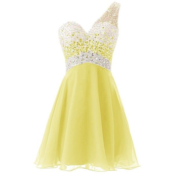 Dresstells One Shoulder Homecoming Dress with Beadings Short... ($60) ❤ liked on Polyvore featuring dresses, lullabies, short dresses, yellow, short bridesmaid dresses, beige cocktail dress, yellow mini dress and beaded cocktail dress